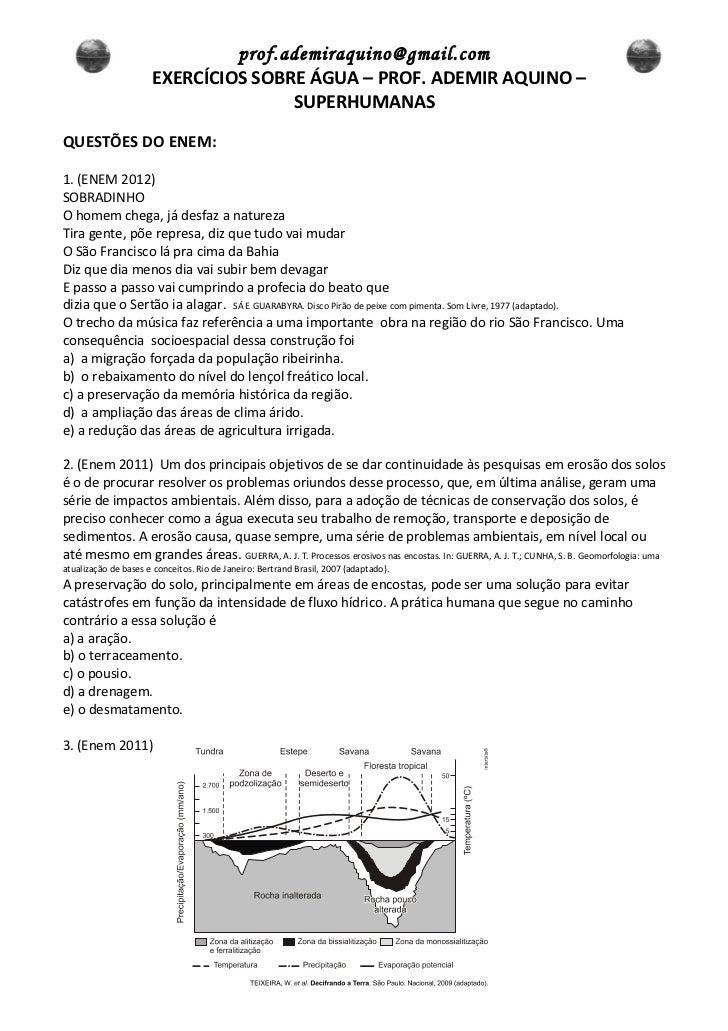 prof.ademiraquino@gmail.com                      EXERCÍCIOS SOBRE ÁGUA – PROF. ADEMIR AQUINO –                            ...