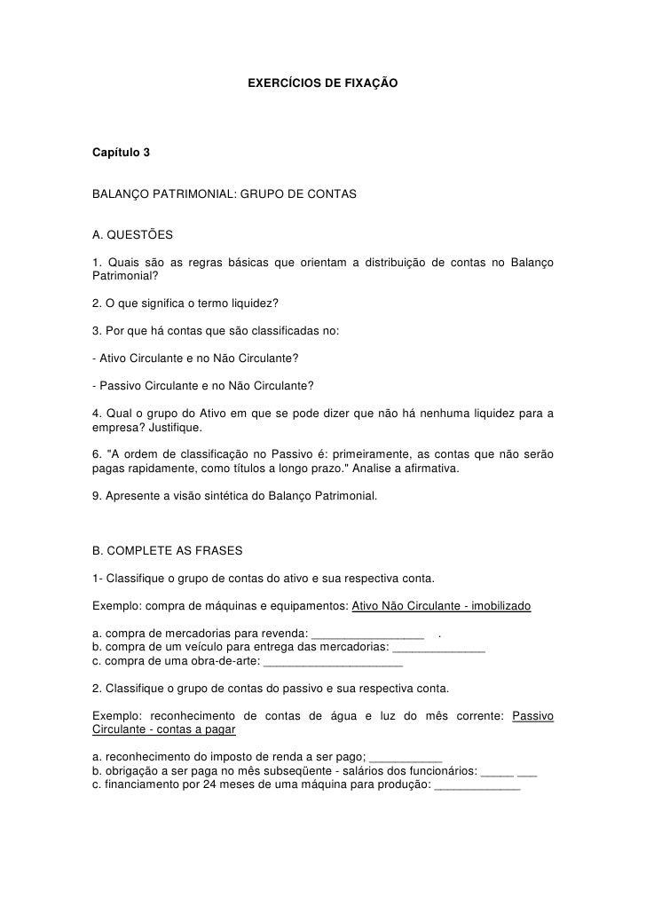 Exercicios contabilidade exercicioscap 3