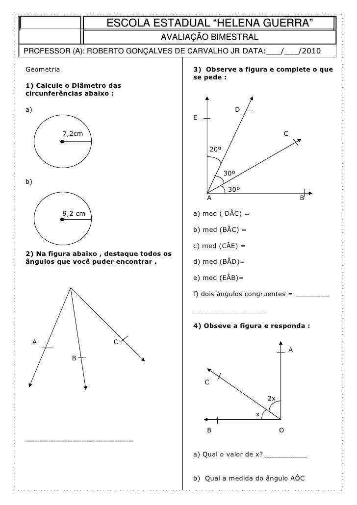 Exercicios de geometria