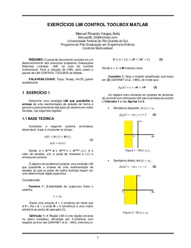 EXERCÍCIOS LMI CONTROL TOOLBOX MATLAB                                            Manuel Ricardo Vargas Ávila              ...