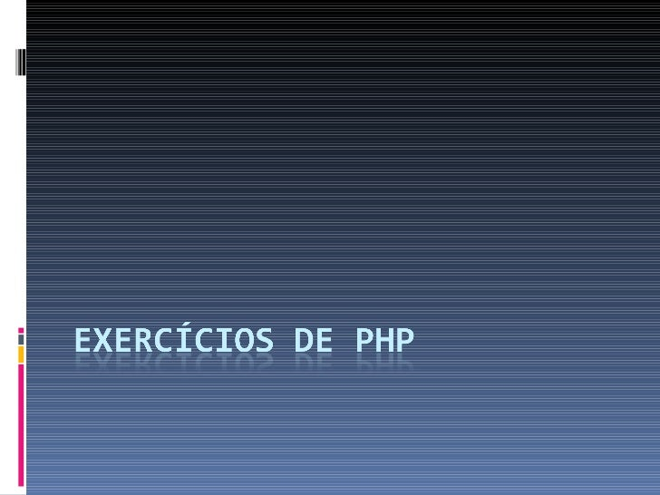 Exercicios Php