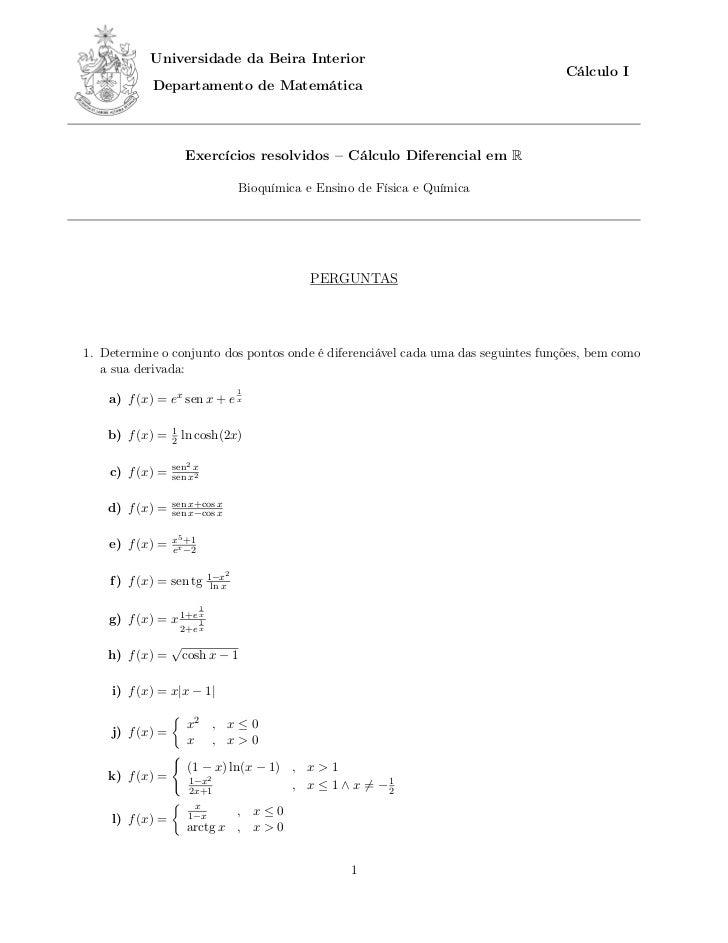 Universidade da Beira Interior                                                                                   Cálculo I...