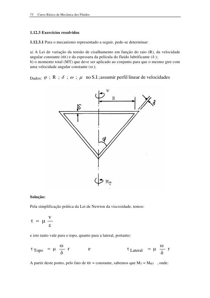73   Curso Básico de Mecânica dos Fluidos     1.12.3 Exercícios resolvidos  1.12.3.1 Para o mecanismo representado a segui...
