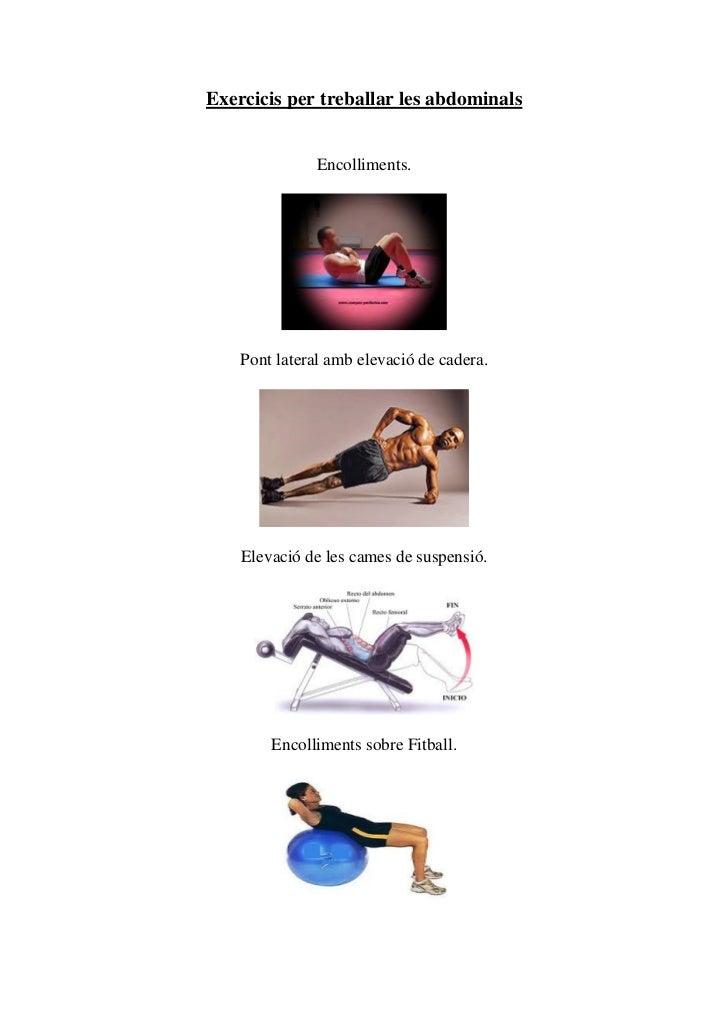 Exercicis per treballar les abdominals               Encolliments.    Pont lateral amb elevació de cadera.    Elevació de ...