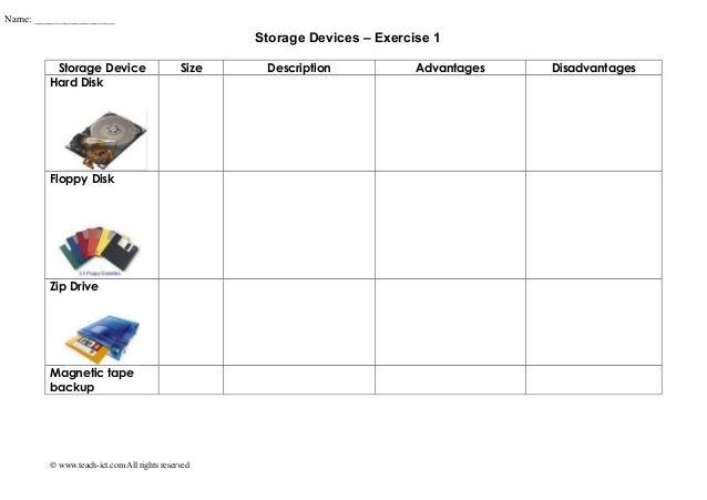 Storage Devices – Exercise 1 Storage Device Size Description Advantages Disadvantages Hard Disk Floppy Disk Zip Drive Magn...