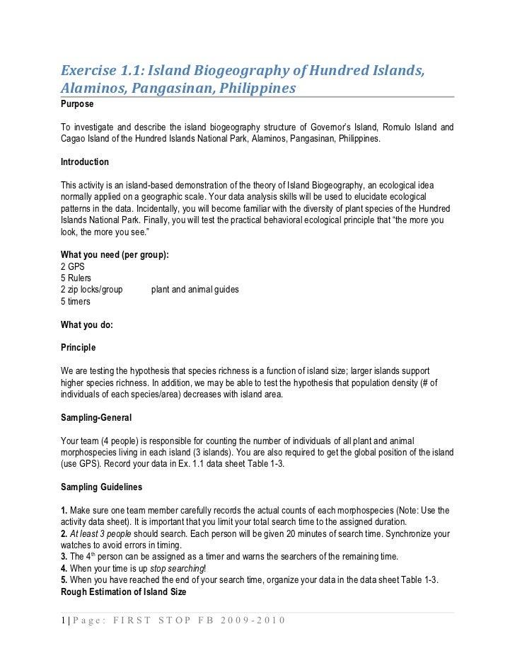 Exercise 1.1: Island Biogeography of Hundred Islands,Alaminos, Pangasinan, PhilippinesPurposeTo investigate and describe t...