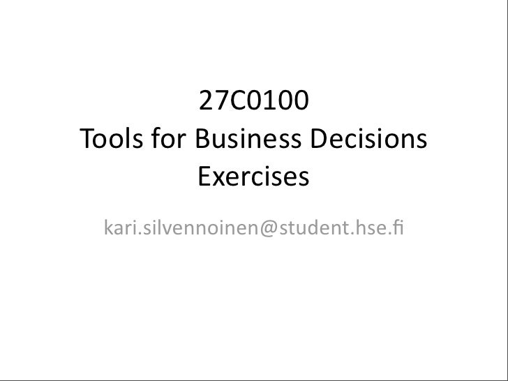 Tools for Business Decisions - Exercises 5