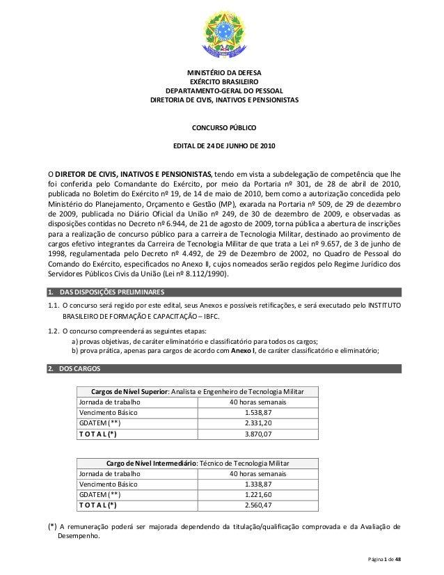 Página 1 de 48 MINISTÉRIO DA DEFESA EXÉRCITO BRASILEIRO DEPARTAMENTO-GERAL DO PESSOAL DIRETORIA DE CIVIS, INATIVOS E PENSI...