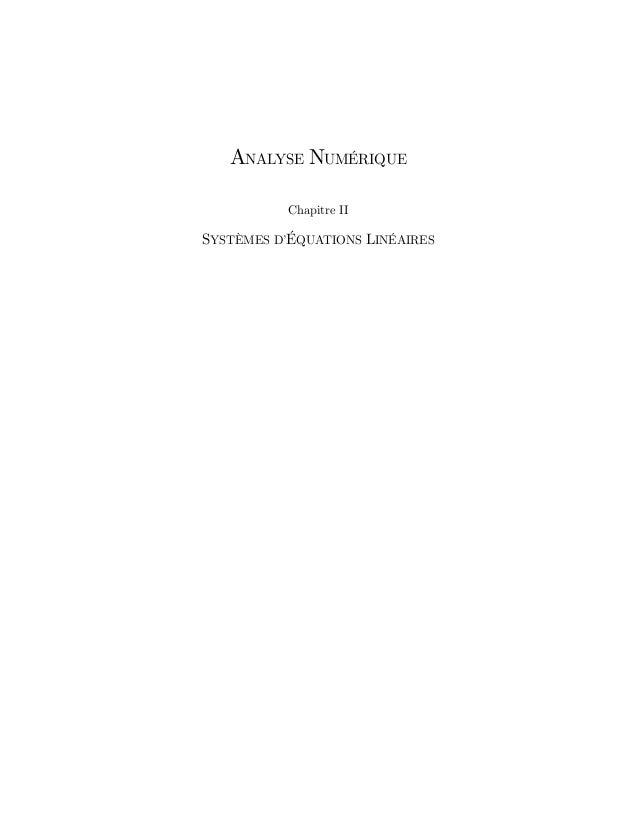 ANALYSE NUMÉRIQUE Chapitre II SYSTÈMES D'ÉQUATIONS LINÉAIRES