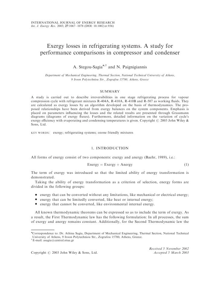 Exergy Losses In Refrigerating Systems