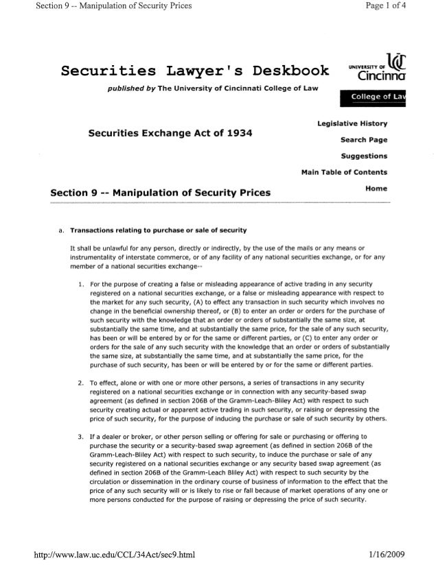 Section 9 —- Manipulation of Security Prices Page l of 4  UNIVHJKY OF    Securities Lawyer' s Deskbook (¡mama  published b...