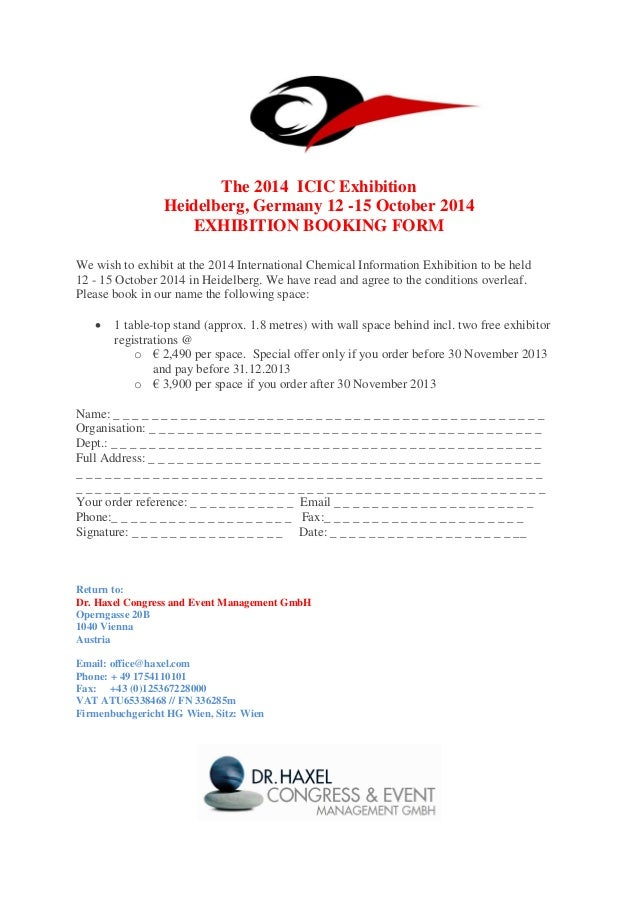 The 2014 ICIC Exhibition Heidelberg, Germany 12 -15 October 2014 EXHIBITION BOOKING FORM We wish to exhibit at the 2014 In...