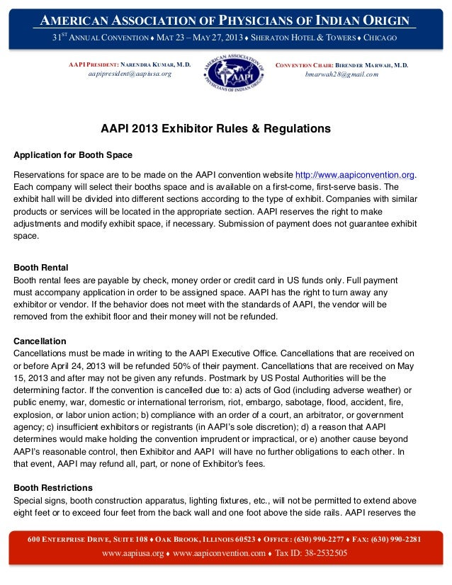 Exhibitor Rules and Regulations Agreement
