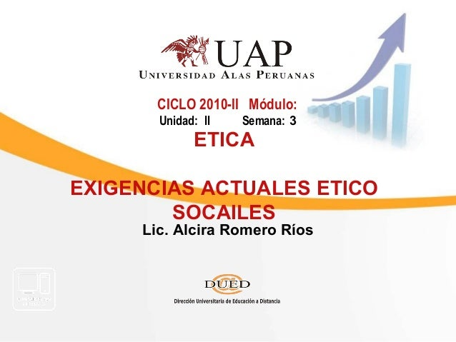 Lic. Alcira Romero Ríos CICLO 2010-II Módulo: Unidad: II Semana: 3 ETICA EXIGENCIAS ACTUALES ETICO SOCAILES