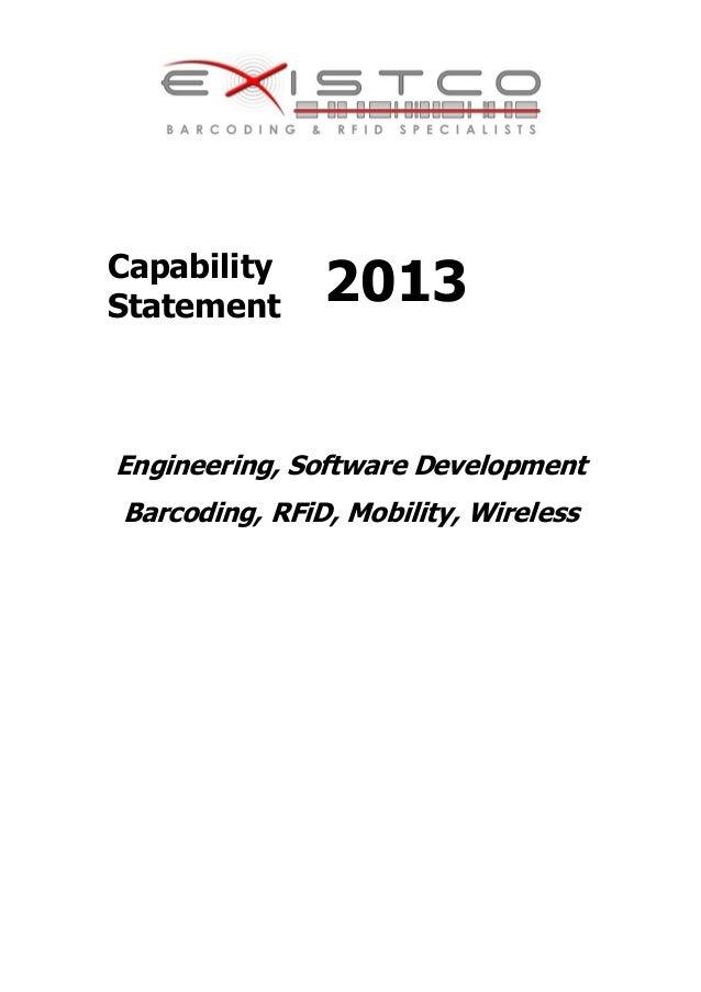 CapabilityStatement 2013Engineering, Software DevelopmentBarcoding, RFiD, Mobility, Wireless