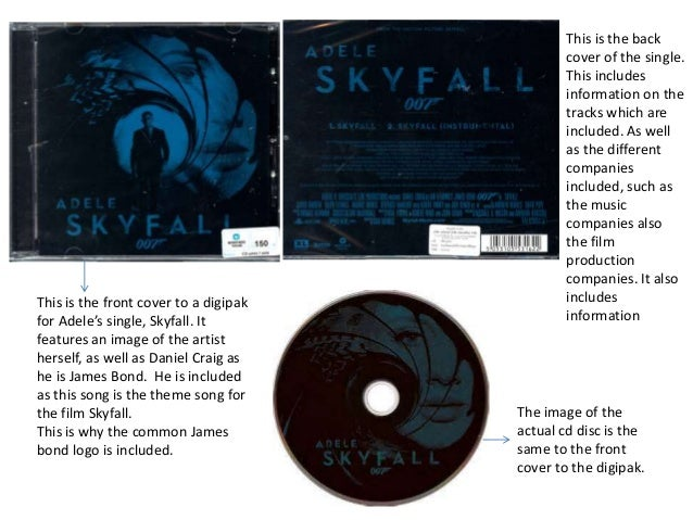 This is the front cover to a digipak for Adele's single, Skyfall. It features an image of the artist herself, as well as D...