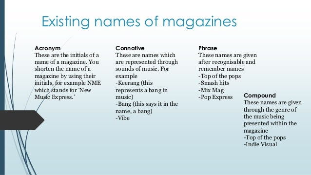 names of magazines in essays A listing of good creative newspaper names and ideas that will inspire you.