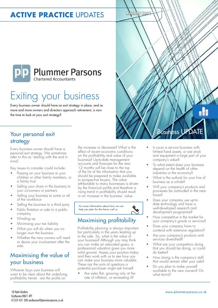 ACTIVE PRACTICE UPDATES                                                                   AUGUST 2012Exiting your business...