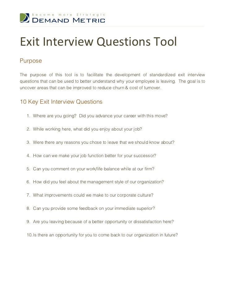 Exit Interview Letter Template