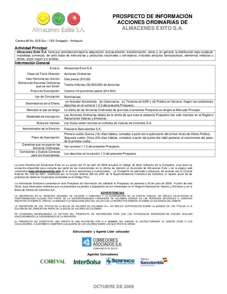 PROSPECTO DE INFORMACIÓN                                                                                  ACCIONES ORDINAR...