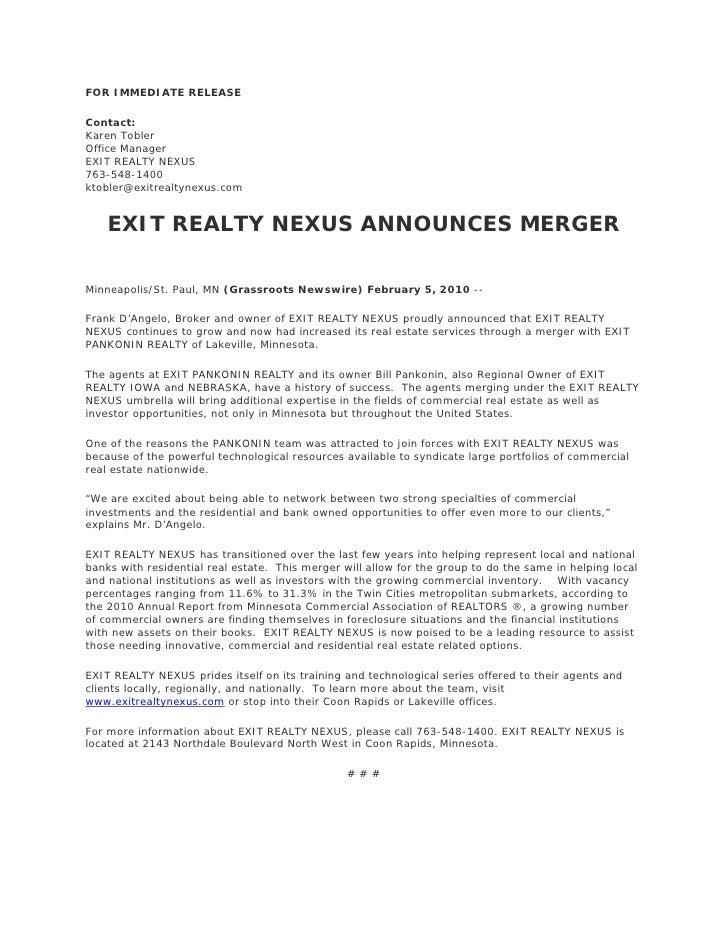 Exit Realty Nexus Announces Merger