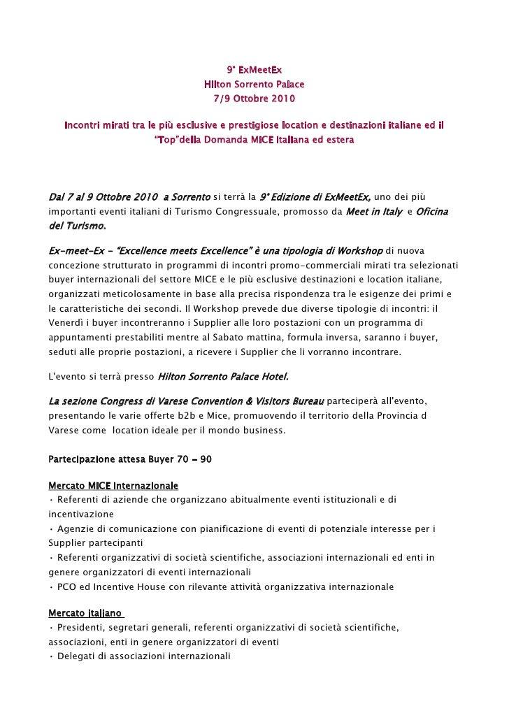 9° ExMeetEx                                     Hilton Sorrento Palace                                       7/9 Ottobre 2...
