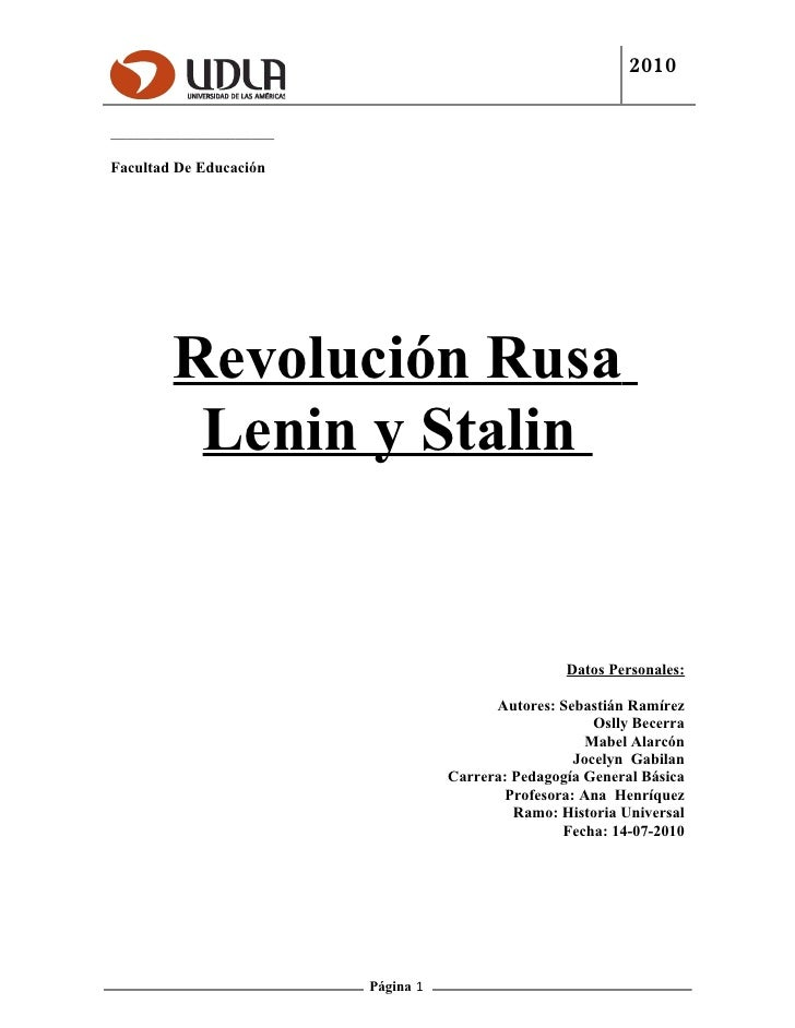 Trabajo De Investigación Revolución Rusa, Lenin- Stalin