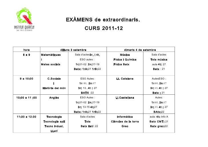 EXÀMENS de extraordinaris.                                                    CURS 2011-12    hora                        ...