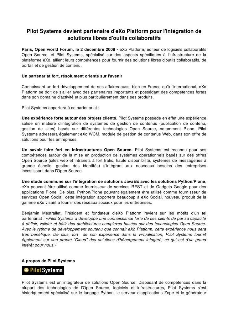 Partenariat Exo Platform et Pilot Systems