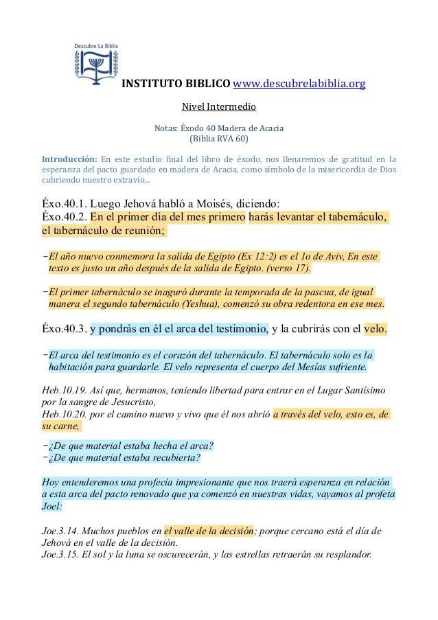 INSTITUTO BIBLICO www.descubrelabiblia.orgNivel IntermedioNotas: Éxodo 40 Madera de Acacia(Biblia RVA ...