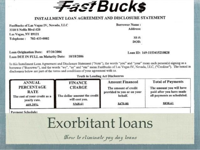 Exorbitant loans
