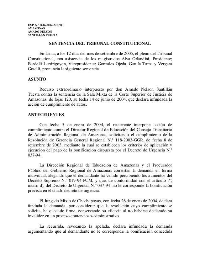 EXP. N.º 2616-2004-AC /TC AMAZONAS AMADO NELSON SANTILLAN TUESTA SENTENCIA DEL TRIBUNAL CONSTITUCIONAL En Lima, a los 12 d...