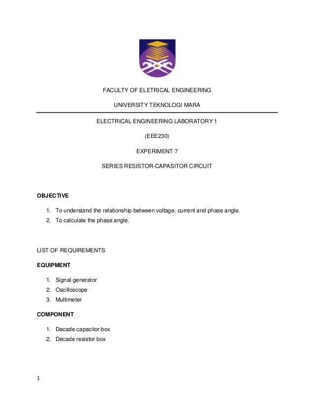 FACULTY OF ELETRICAL ENGINEERING                              UNIVERSITY TEKNOLOGI MARA                       ELECTRICAL E...