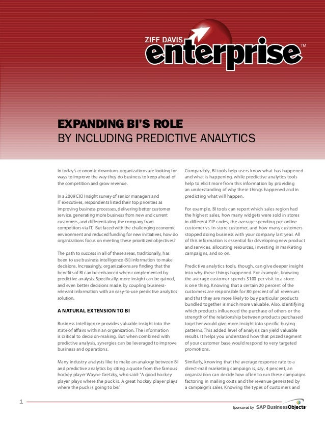 Sponsored by Expanding BI's role by including Predictive Analytics In today's economic downturn, organizations are looking...