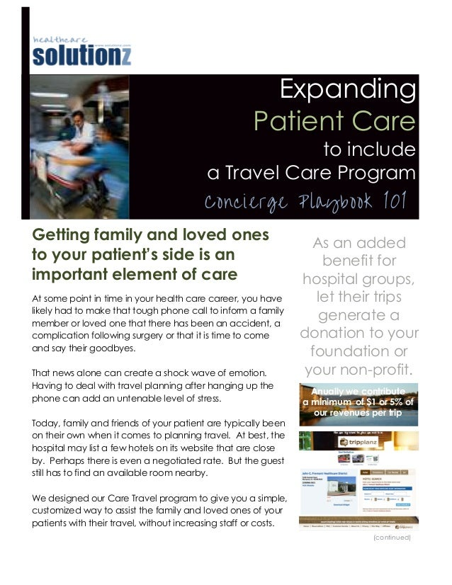 Expanding patient care to include a Travel Care program