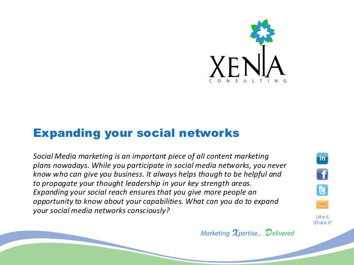 Expanding your social networksSocial Media marketing is an important piece of all content marketingplans nowadays. While y...