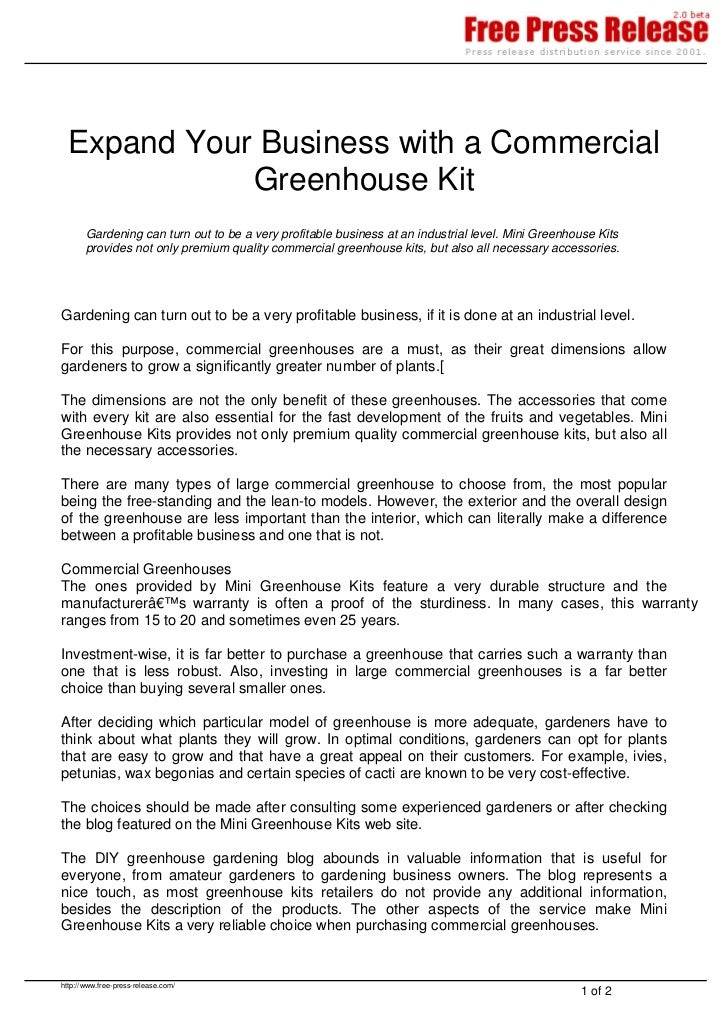 Expand Your Business with a Commercial             Greenhouse Kit       Gardening can turn out to be a very profitable bus...