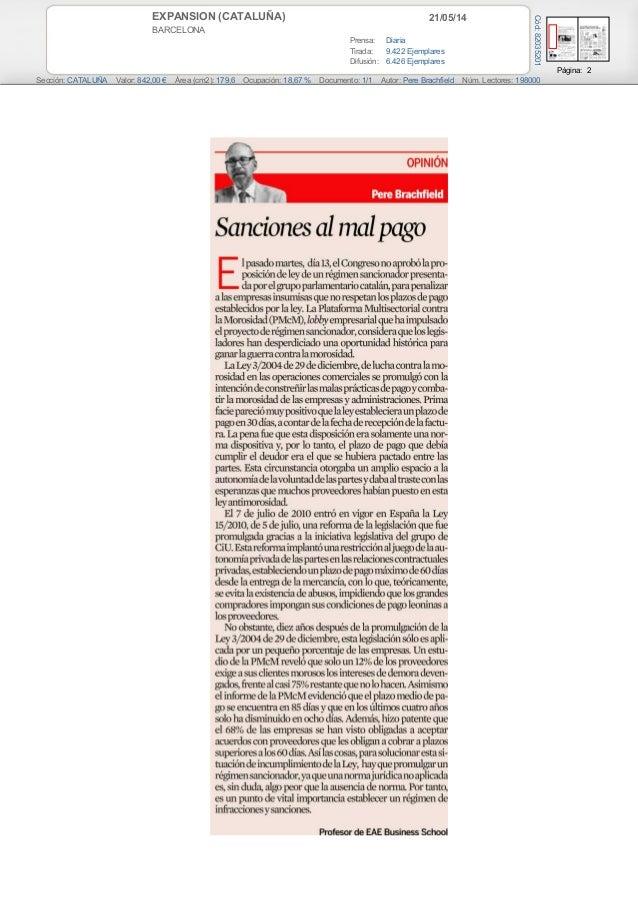 21/05/14EXPANSION (CATALUÑA) BARCELONA Prensa: Diaria Tirada: 9.422 Ejemplares Difusión: 6.426 Ejemplares Página: 2 Secció...