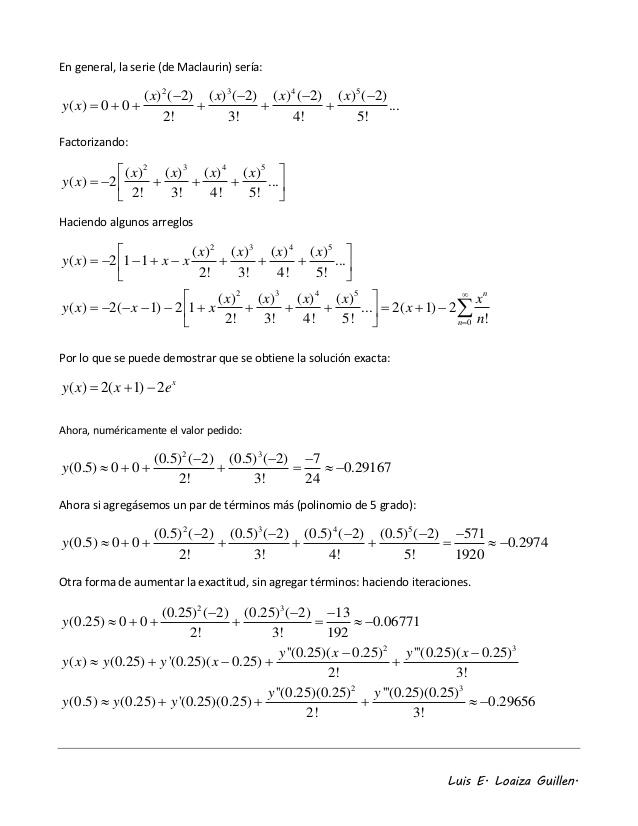 Expansi�n polinomial en series de taylor