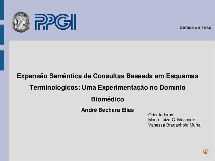 Defesa de Tese<br />Expansão Semântica de Consultas Baseada em Esquemas Terminológicos: Uma Experimentação no Domínio Bio...