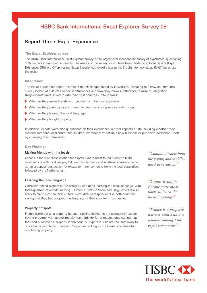 HSBC Bank International Expat Explorer Survey 08  Report Three: Expat Experience  The Expat Explorer survey The HSBC Bank ...