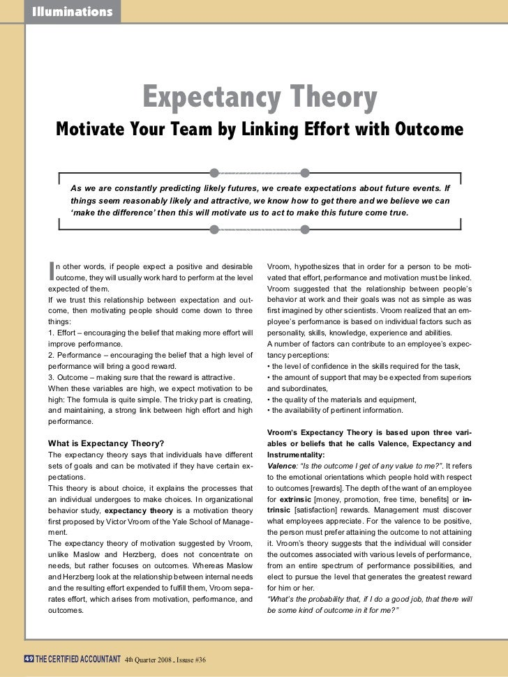 Illuminations                                      Expectancy Theory            Motivate Your Team by Linking Effort with ...