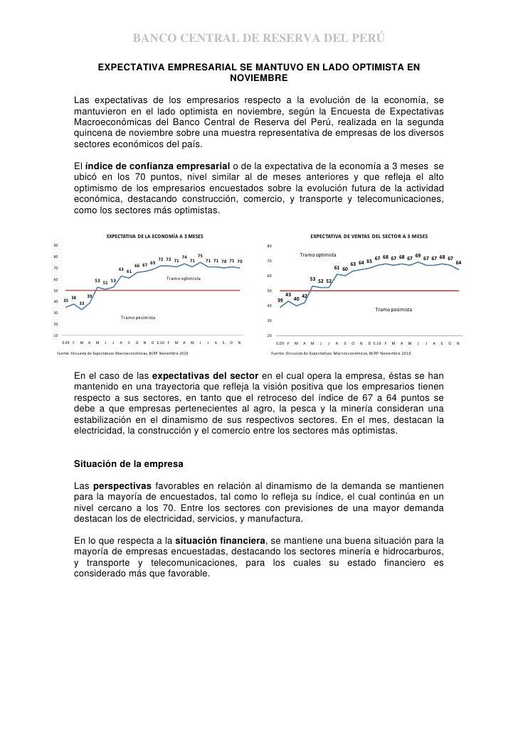 Expectativas empresariales nov 2010 bcr
