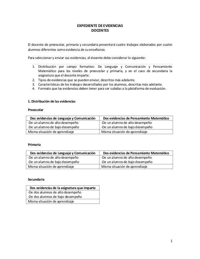 1 EXPEDIENTE DE EVIDENCIAS DOCENTES El docente de preescolar, primaria y secundaria presentará cuatro trabajos elaborados ...