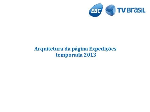 Arquitetura da página Expedições temporada 2013