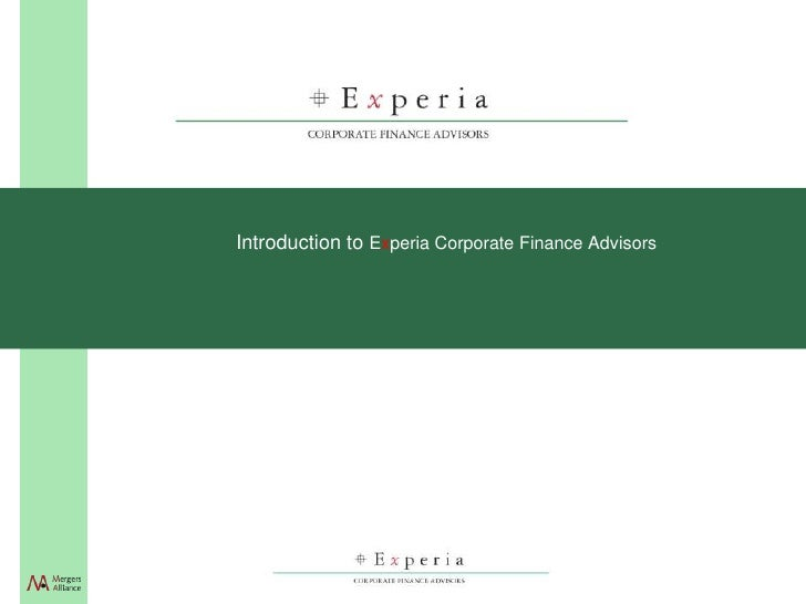 Introduction to Experia Corporate Finance Advisors
