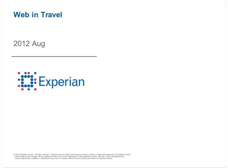 Experian Hitwise Travel Data - August 2012