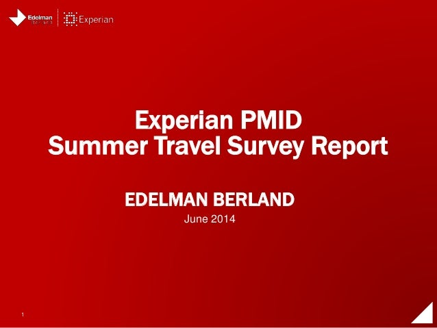 Experian ProtectMyID Summer Travel Survey Report