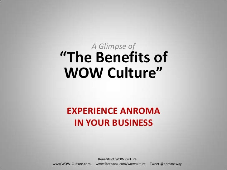 """A Glimpse of """"The Benefits of WOW Culture""""<br />EXPERIENCE ANROMA IN YOUR BUSINESS<br />Benefits of WOW Culture<br />www.W..."""