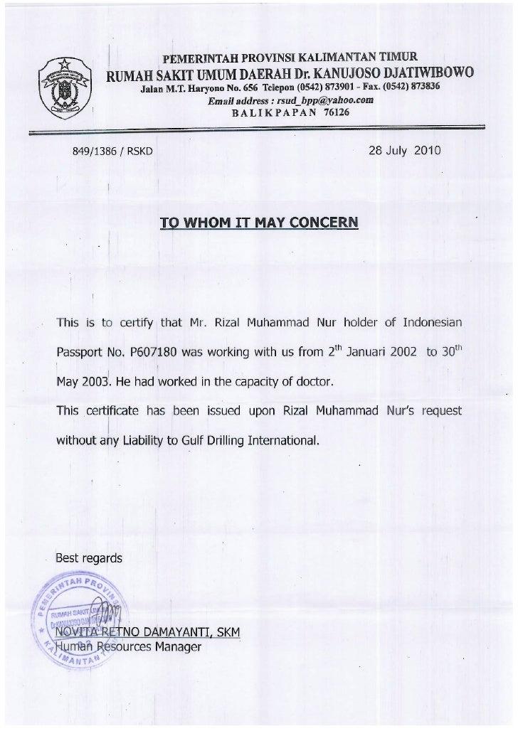 Experience Certificates Rizal M Nur